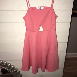 Pink spaghetti strap with front and back cutouts